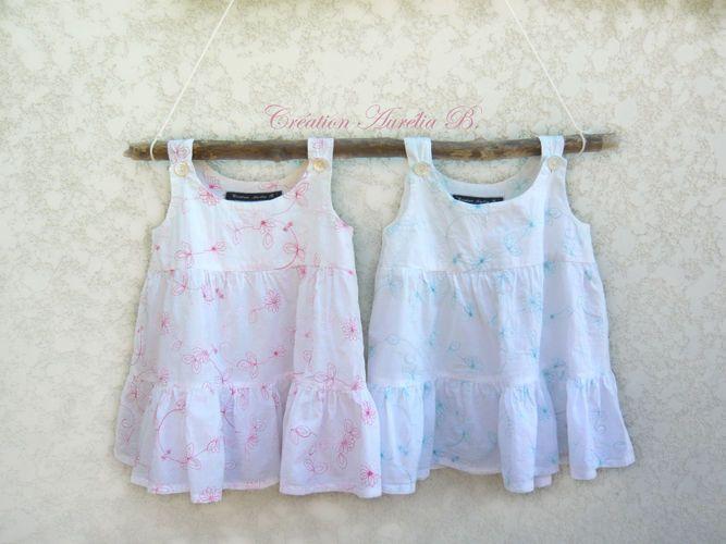 Création Aurélia B. - La paire de tuniques pour petites filles jumelles