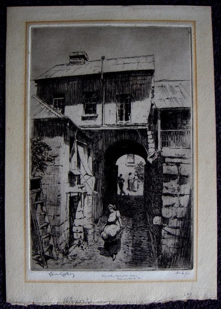 Lionel Lindsay limited edition etching Old Carriage Way Cumberland St signed Australian Sold