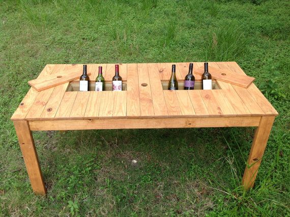 Dinning patio table with builtin cooler by rusticdesignco for Patio table with built in cooler