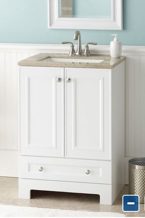 Image Gallery For Website Style Selections Emberlin White Integral Single Sink Bathroom Vanity with Solid Surface Top Common