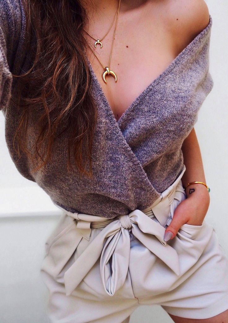 draped top & tie shorts