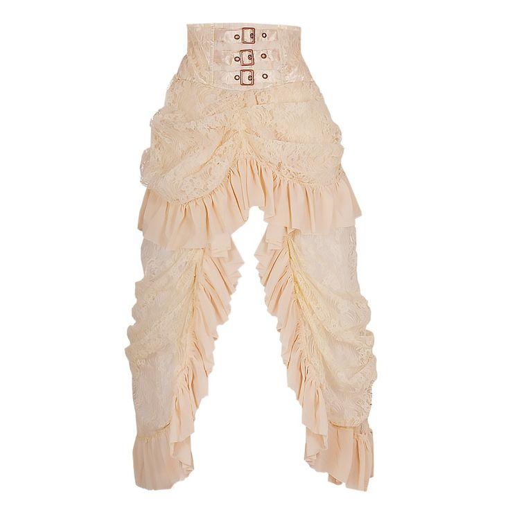 Deze lange, draperen rok is vrij in bloemrijke witte kant. De stijl is klassiek van het Victoriaanse tijdperk waardoor het een stuk moet hebben. Het combineert een drukte en een lange trail zodat u pronkt met die benen. Drie gespen sieren de tailleband en maken het plaatje compleet. Wasmachine koud wassen, Niet in de droger doen