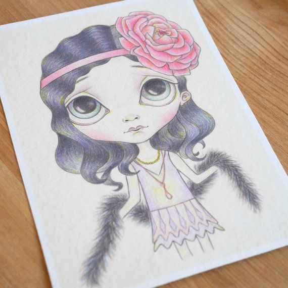 The Vintage Flapper ~ 5x7 ~ Fine Art Print ~ Pop Surrealism ~ Big Eyed Drawing ~ By Nicole Clements