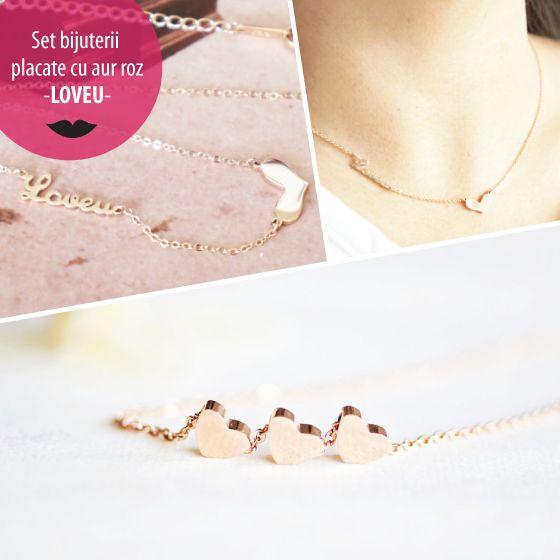 Set bijuterii placate cu aur roz - LOVEU - MSM-Shop