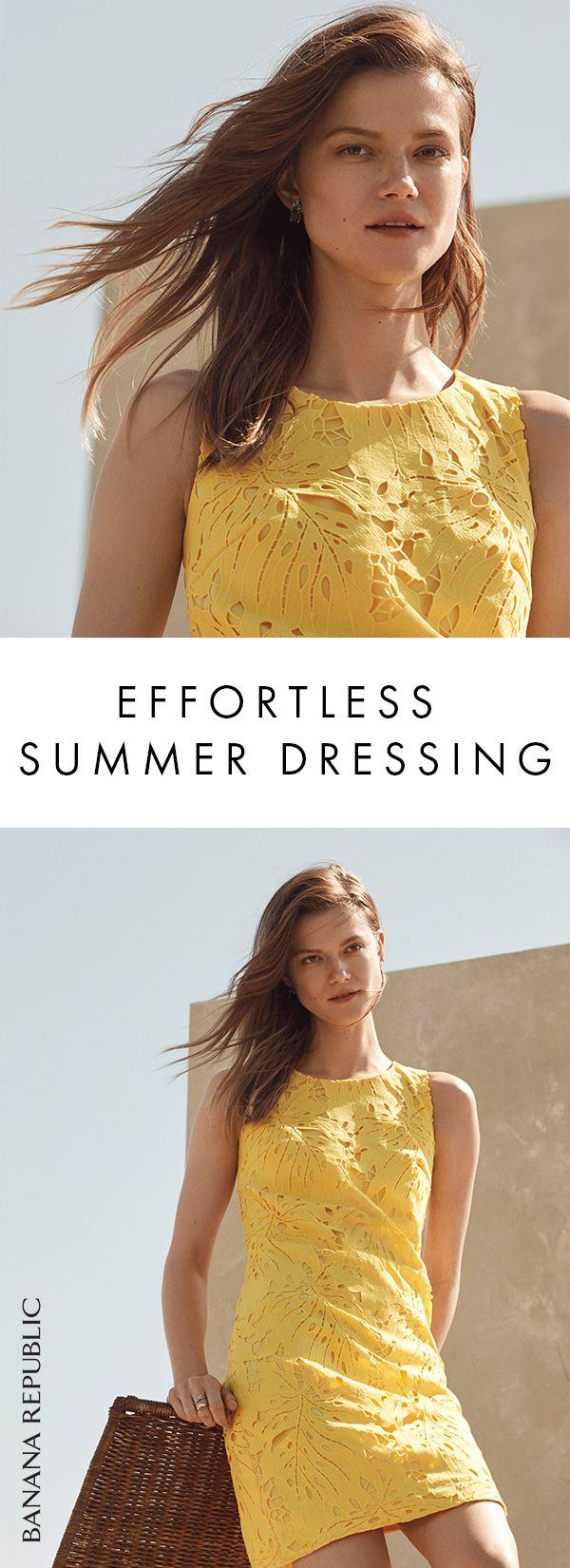 The shift dress is a versatile summer classic, and it gets a feminine reworking with a bright yellow color and delicate leaf lace overlay. Wear with flats or chic strappy sandals. Shop now at Banana Republic.