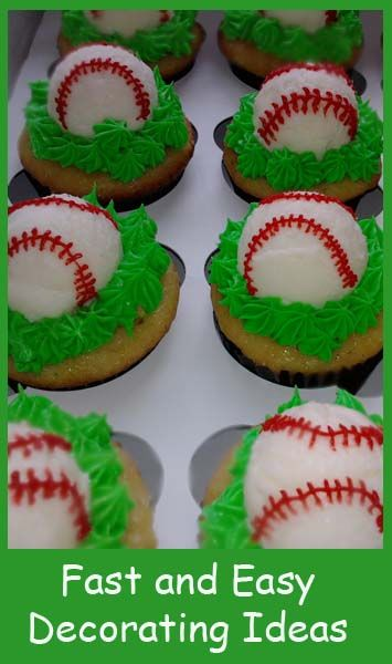 "To make these baseball cupcakes in a hurry I scooped the frosting when it was cold to make an easy ball shape, then used Wiltons red melts to pipe the ""seams."""