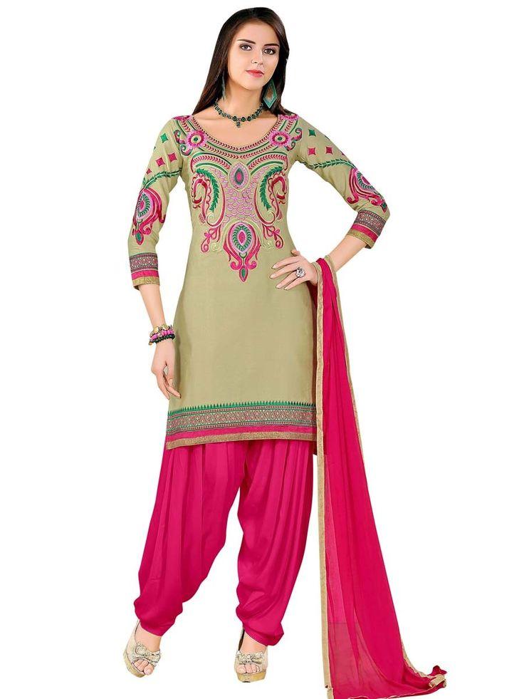 Prominent beige color cotton #kurta is highlighted with #resham work. Item Code: SLANA10010K  http://www.bharatplaza.com/new-arrivals/lehengas.html