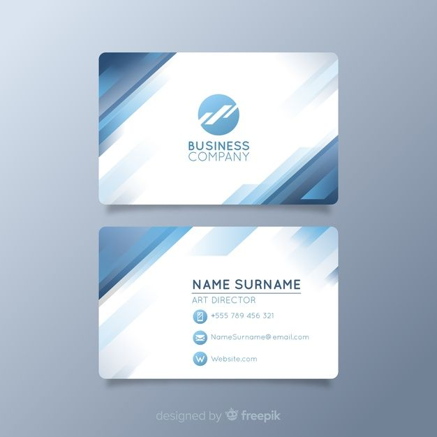 White Visiting Card With Logo And Blue Shapes Visiting Cards Restaurant Business Cards Neon Business Cards