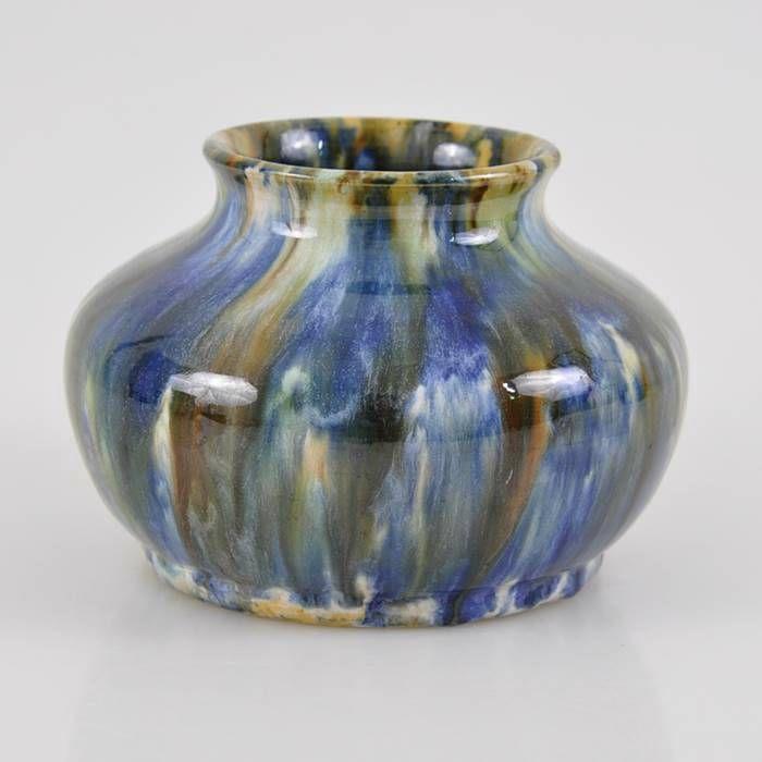9.5cm x 14.5cm JOHN-CAMPBELL-Pottery-1932-Multi-Coloured-Blue-Green-Amber-VASE-Signed
