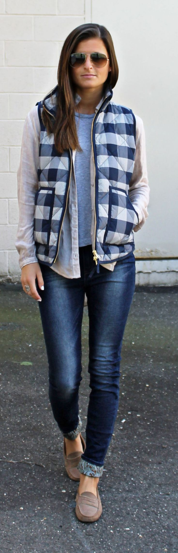 Blue And White Checkered Puffer Vest women fashion outfit clothing style apparel @roressclothes closet ideas
