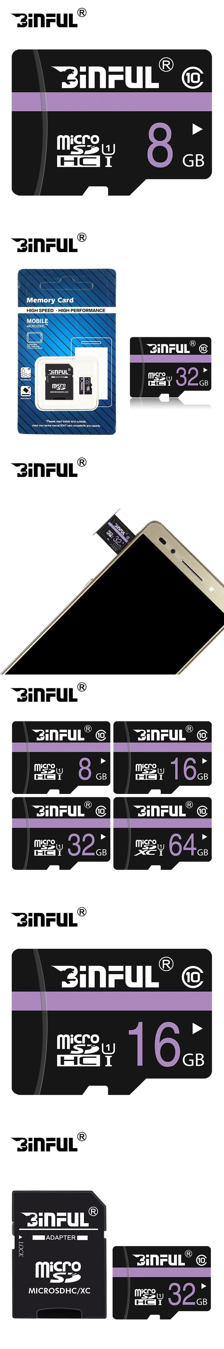 BiNFUL Micro SD Card 4GB 8GB 16GB 32GB 64GB Memory Card Class10 For Phone/Tablet/Camera TF Card High Speed Transflash Card