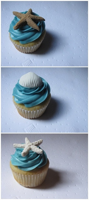 Beach Themed Wedding Reception Cupcake Tower - Montreal - August 1, 2009 by clevercupcakes, via Flickr