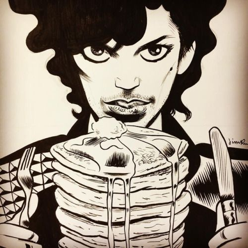 jimrugg: Prince and Pancakes 9x12 in. ink on Bristol... jimrugg:  Prince and Pancakes 9x12 in. ink on Bristol #heroescon2017 #drawing #Prince #pancakes #commission