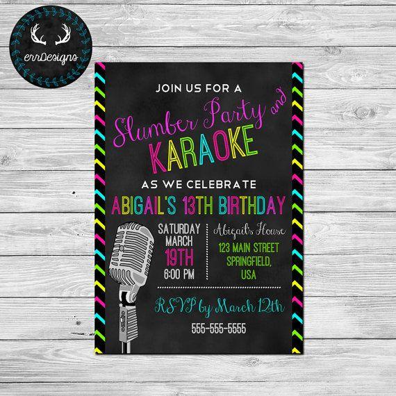 Karaoke Party Invitation by ERRdesigns on Etsy