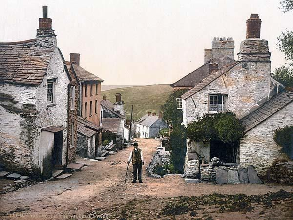 Above we show a vital photo of Boscastle, the village street, Cornwall.  This color photochrome print was made between 1890 and 1900 in Cornwall, England.