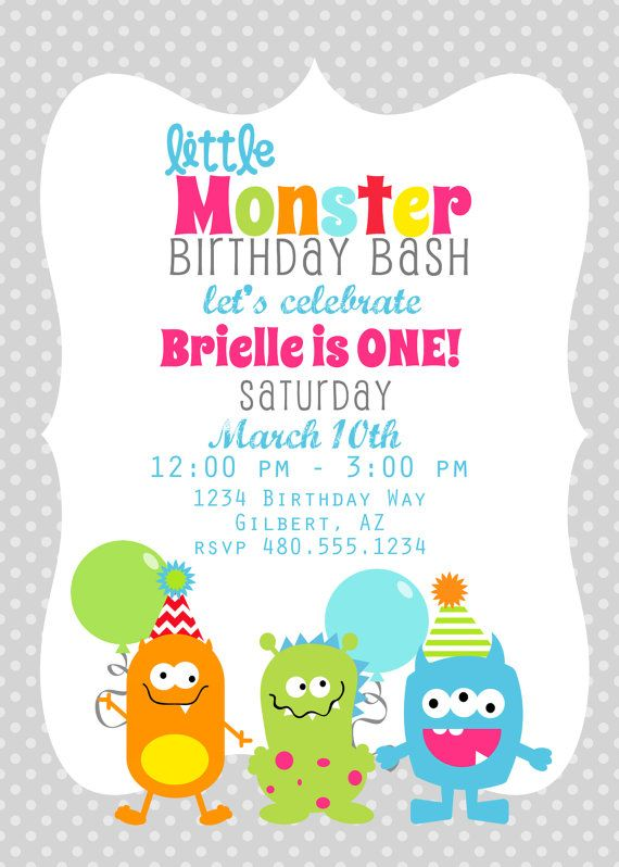 PRINTABLE PARTY INVITATION - Little Monster Birthday or Baby Shower Invite - Fresh Chick Designs