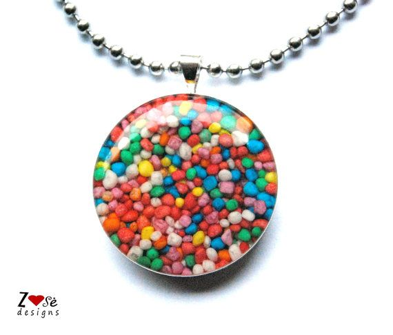 #Rainbow sprinkles pendant for girls. by ZoseDesigns