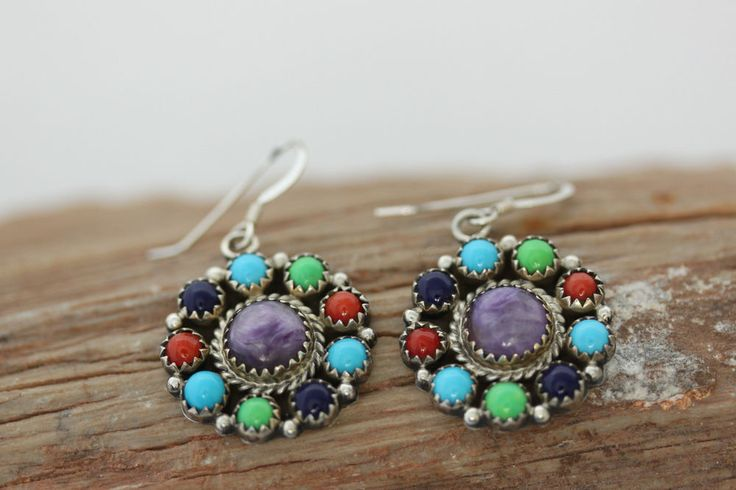 Native American Indian Jewelry Sterling Silver Multistone French Hook Earrings