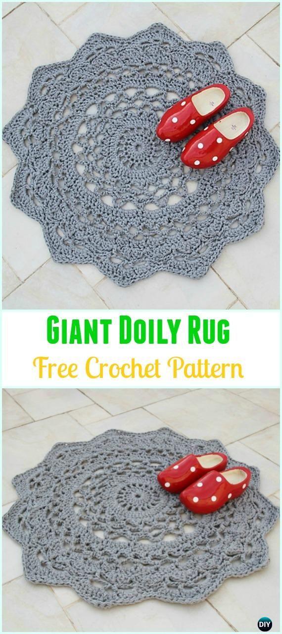 Crochet Giant Doily Rug Free Pattern -Crochet Area Rug Ideas Free Patterns