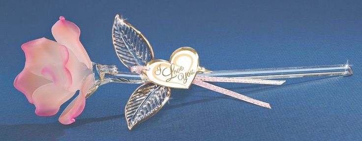 """Glass Baron ~ Peach Rose Long Stem 22kt gold trim ~ 9"""" ~ Great Gift ~ New in Box"""