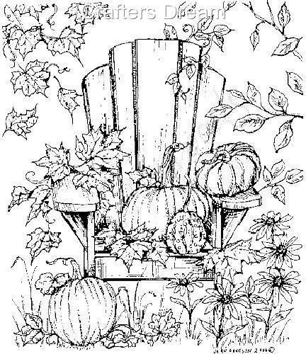 Adirondack Chair With Pumpkin Trees Leaves Fall Scene