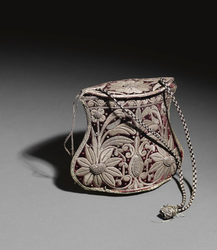 18th Century Turkish Velvet Handbag embroidered with silver thread.