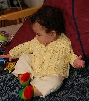 Eyelet Ribbed Baby Cardigan