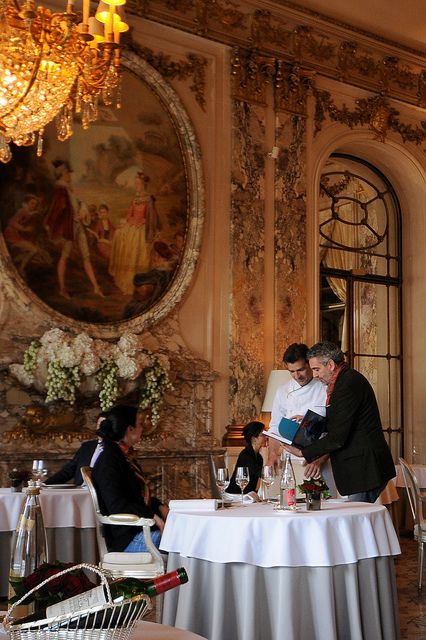 Le Meurice ~ one of the world's most beautiful dining rooms overlooking the Touileries Gardens in Paris.