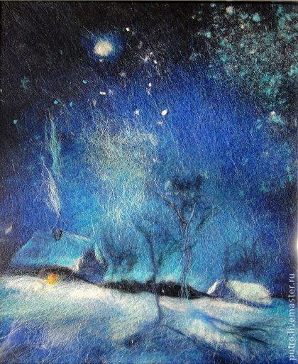 """Картина шерсть """"Черная ночь"""" - тёмно-синий,ночь,картина шерстью,живопись шерстью"""