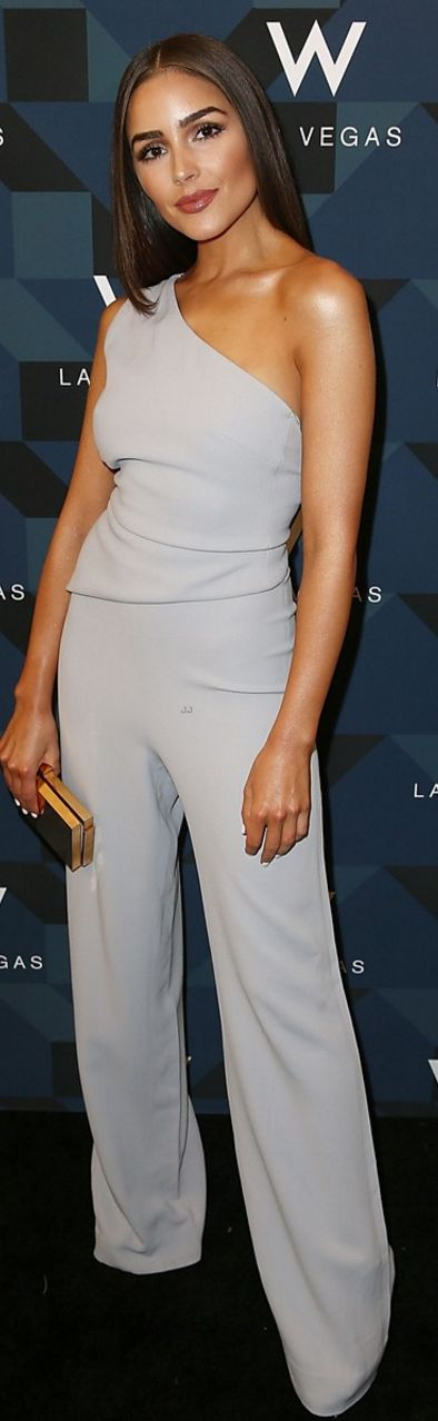 Who made Olivia Culpo's one shoulder gray one shoulder jumpsuit?