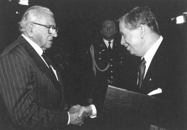 "Sir Nicholas Winton received the Czech Republic's highest honor from President Vaclav Havel in 1998. Credit ""Nicholas Winton and the Rescued Generation"""