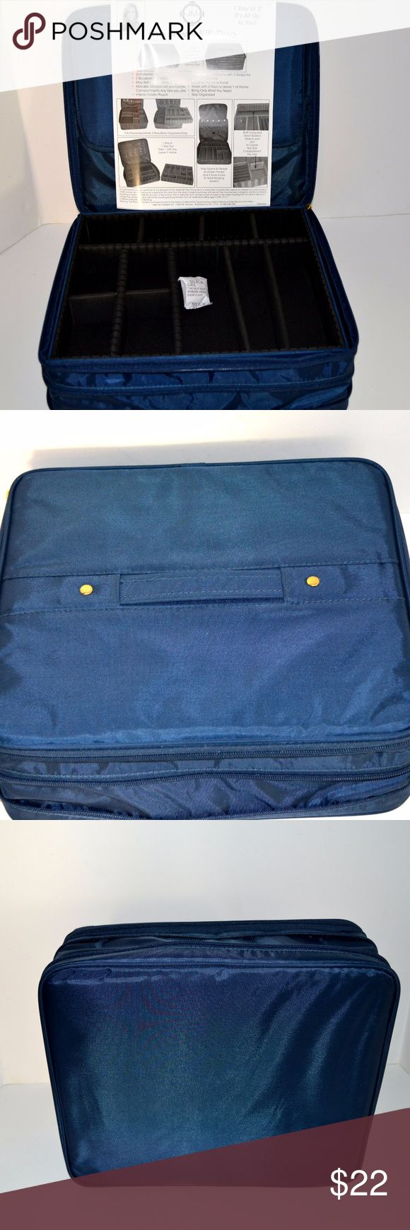 "Joy Mangano Travel Jewelry Expandable Case New used, gorgeous Joy Mangano Travel Jewelry Expandable Case in blue. Use one or two trays. Trays have adjustable tabs so your jewelry will fit perfectly. Please see the instruction picture to fully understand how versatile this piece is.  Top handle. Zippered openings. 13"" x 11"" Joy Mangano Bags Travel Bags"
