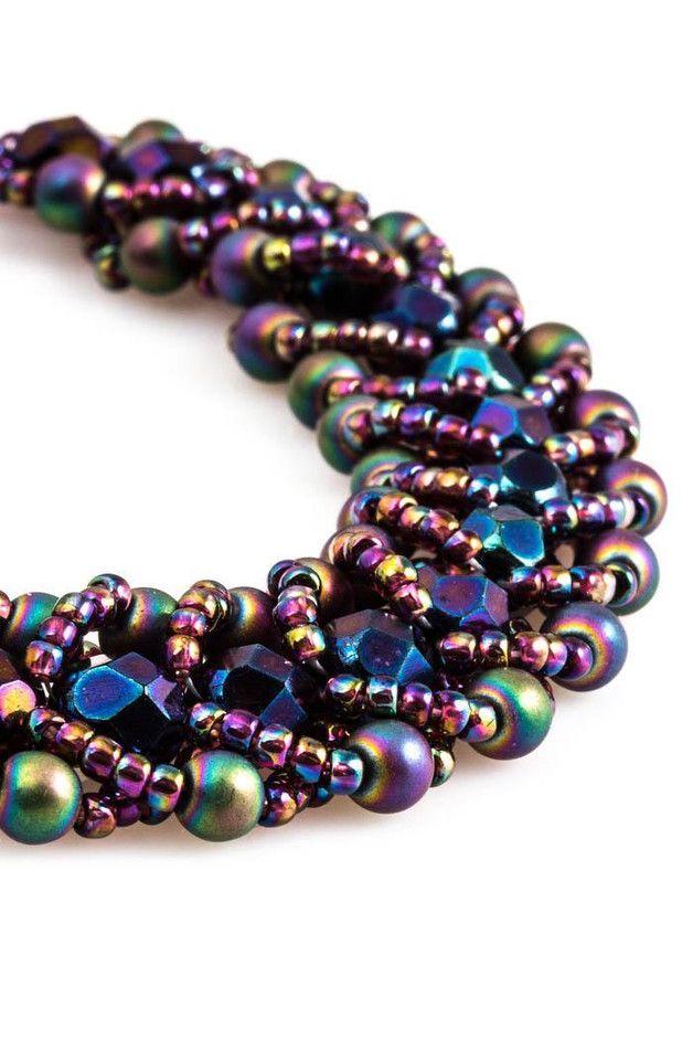 Bransoletka - Spiral flat stitch 01SF - Molyart - Bransoletki z koralików