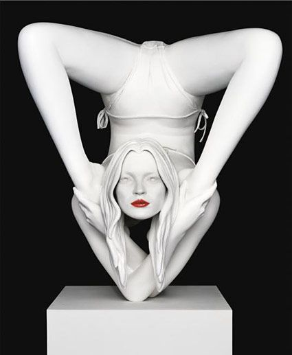 Kate Moss by Marc Quinn. I love contortionism and the poetry in the way these special people choose to challenge their own bodies and with intense focus/training pose the impossible. The balance point of this sculpture is edgy with tension-love it.