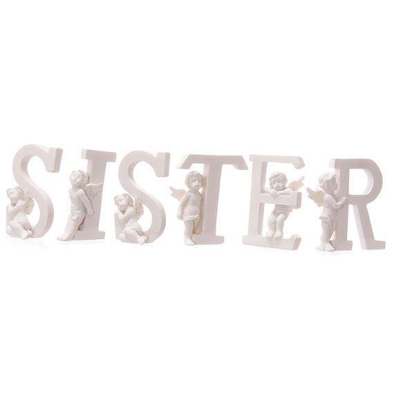 Angel Figurine Cherub SISTER Letters Ornament Home by getgiftideas