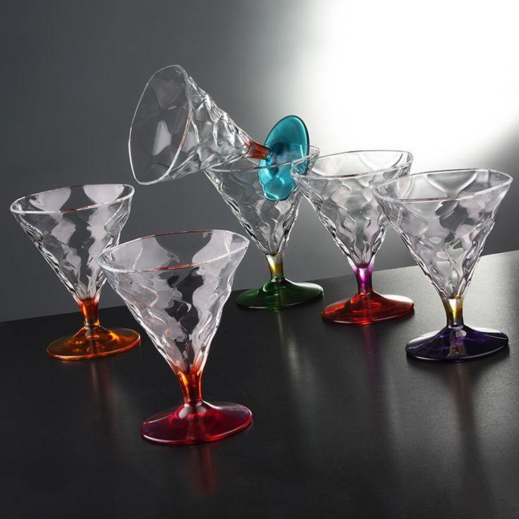 Σετ παγωτού 6 τεμαχίων από τον ιταλικό οίκο RCR Cristalleria Italiana. Τα μπολ είναι σε έξι διαφορετικά χρώματα, με πόδι και πλένονται σε πλυντήριο πιάτων