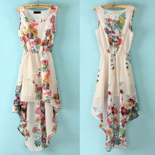 Floral summer dress. I love it, but wish it wasn't high low...