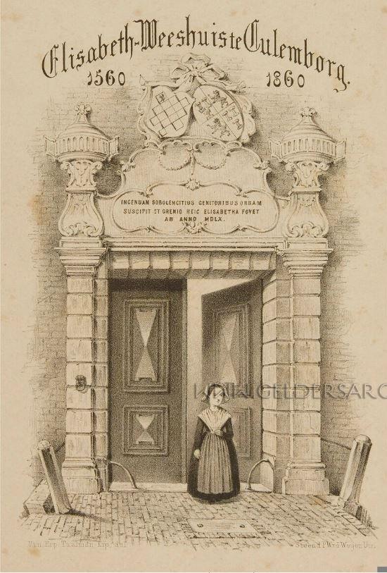 Elisabeth-Weeshuis te Culemborg 1560-1860, 1860 Beschrijving: De ingang van het weeshuis te Culemborg Maker: Van Erp Taalman Kip Beeldbank Gelders Archief #Gelderland #Culemborg #wezen