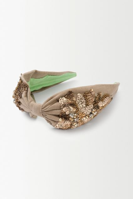 Linen Embellished Turban Headband - anthropologie.eu