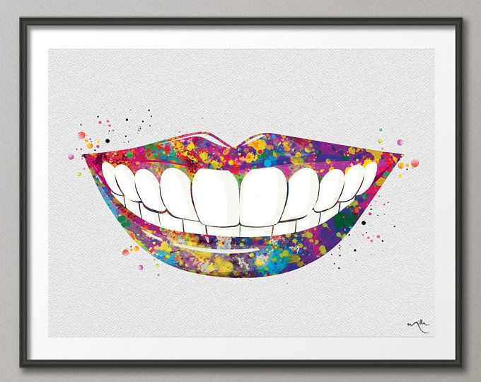 Dentist Art Watercolor Print Tooth Teeth Anatomical Dental Office