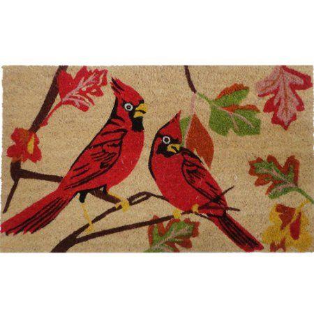 US Decor Christmas Cardinals Coir Door Mat, Beige