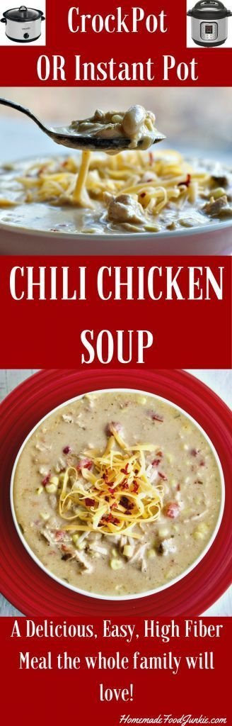 CrockPot Chili Chicken Soup with Instant Pot Instructions