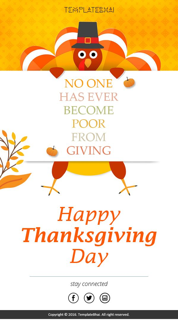 Happy Thanks Giving Day Holiday email template