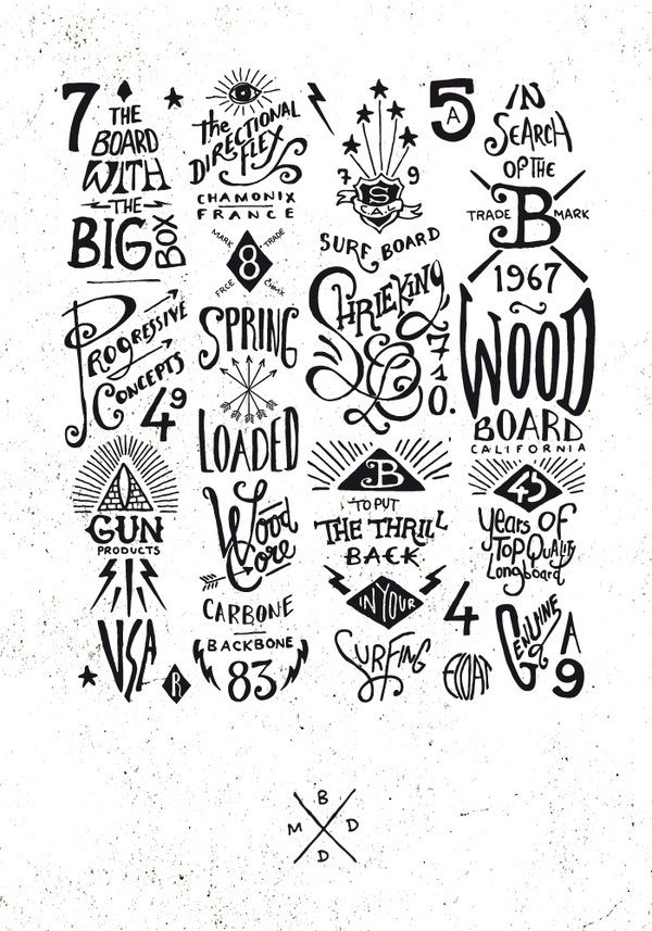 BMD Design - Various hand drawn styles of type seen together here - this has given me some good inspiration as to how to create some ideas of my own.