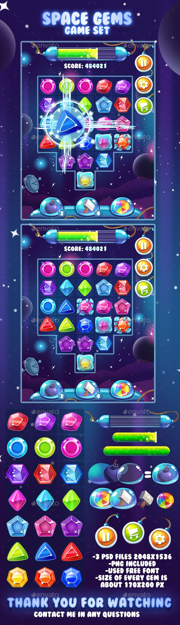 Space Gems Game Asset  — PSD Template #button #electronic • Download ➝ https://graphicriver.net/item/space-gems-game-asset/18393754?ref=pxcr