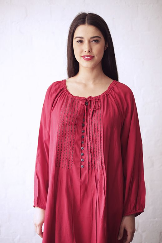 Drawstring Button Tunic in Red http://cakeclothing.net/collections/winter-15/products/drawstring-tunic-red