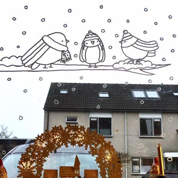 Winter vogeltjes raamtekening