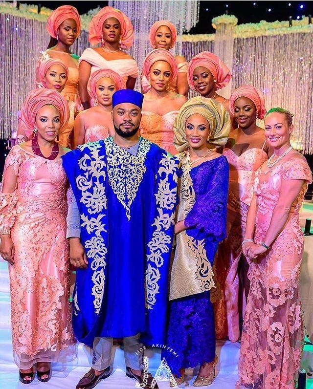 Beautiful..@temimarcella #shadesofpeach #peachaffair #daintyfabrics #asoebi #lovely #monochrome #fabric #congrats #tnt2016