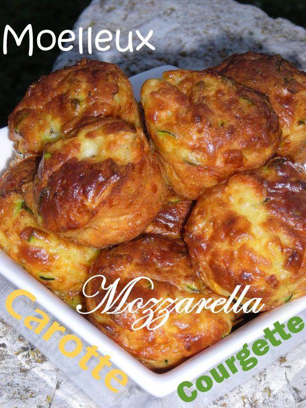 De délicieux petits moelleux aux légumes avec un coeur fondant de mozzarella, à déguster chaud pour l'apéritif, ou en entrée accompagné d'une salade verte. En version individuelle ou en version moule à cake, à vous de choisir......... Ingrédients pour...