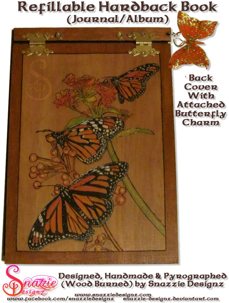 Refillable Hardback Butterfly Book Back Cover by snazzie-designz